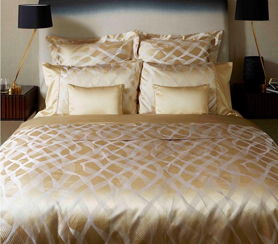 Gingerlily Rubans Gold Silk Seiden Baumwolle Bettwäsche