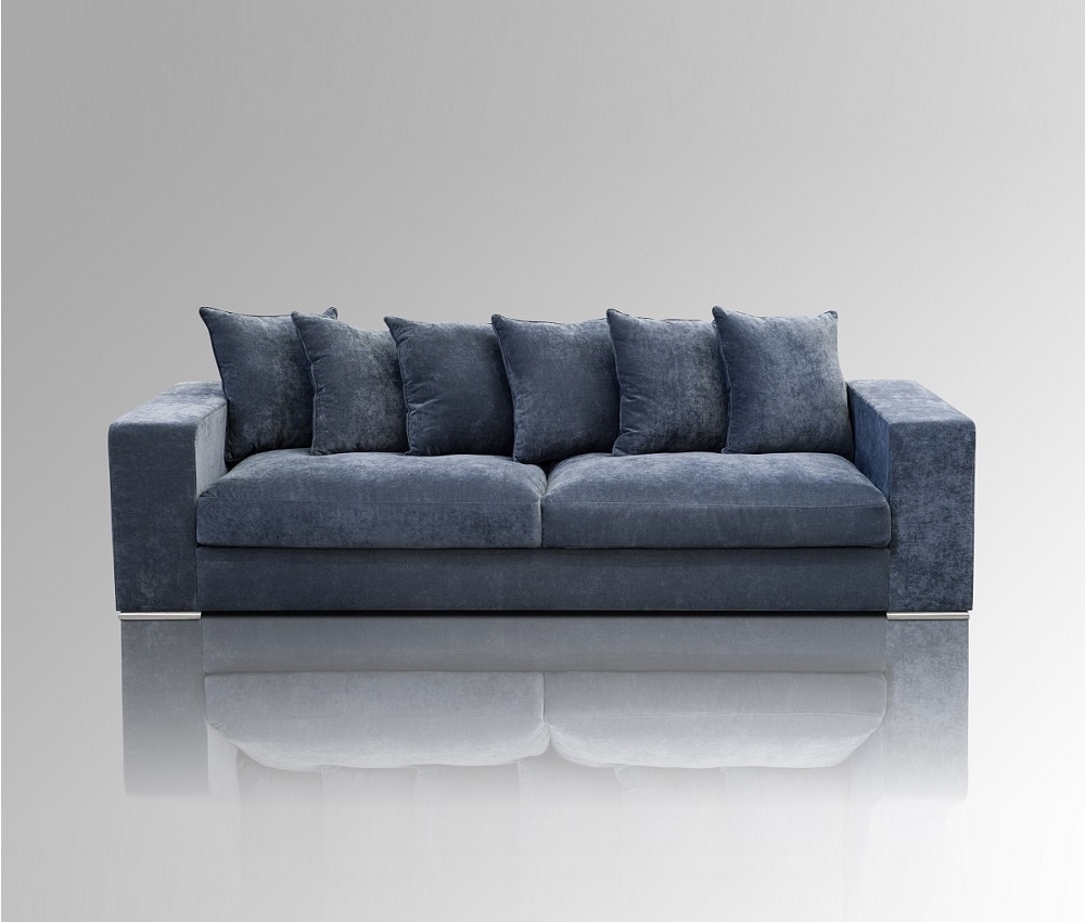 samt sofa 4 sitzer blau. Black Bedroom Furniture Sets. Home Design Ideas