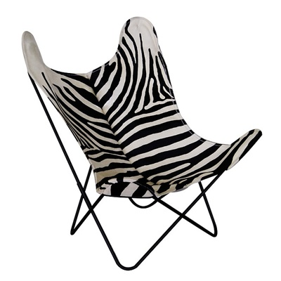 "AA by Airborne Butterfly Chair, Kuhfellbezug ""Zebra"""