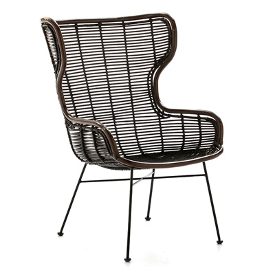 Sessel Metal/Wicker Brown