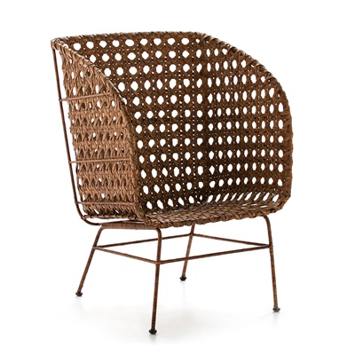 Sessel Metal/Wicker Honey